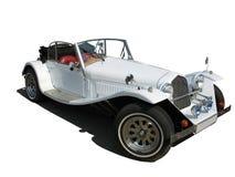 Retro rocznika bielu sen ślubny luksusowy samochód odizolowywający Zdjęcia Stock