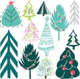 Retro rocznika nowego roku graficzny multicolor uroczy wakacyjny wzór choinki wektorowe ilustracji