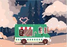 Retro rocznika nowego roku szczęśliwy samochód z krajobrazem zdjęcie royalty free