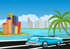 Retro rocznika stary samochód na drodze, plażowe palmy, royalty ilustracja