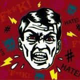 Retro rocznika wroga mężczyzna z gniewnym twarzy przysięganiem wrzeszczy i obrazi z furią, Obrazy Royalty Free