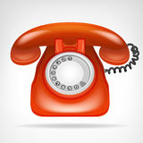 Retro rode telefoon met zaktelefoon geïsoleerd voorwerp op wit Stock Afbeeldingen