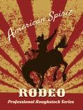 Retro rodeoaffisch royaltyfri illustrationer