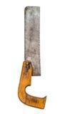 Retro roestige hulpmiddel van de crosscuthandzaag handsaw stock foto