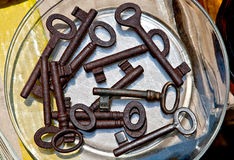 Retro roestige sleutels Royalty-vrije Stock Foto's