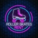 Retro roller skates rent glowing neon sign in circle frame. Skate zone symbol in neon style. Retro roller skates rent glowing neon sign in circle frame on dark vector illustration