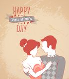 Retro romantic card. Happy Valentine's day. Vector illustration. Beautiful couple portrait. Pink and brown pastel colors. Striped pattern. Textured vintage Stock Images