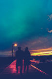 Retro Romantic Couple At Sunset Royalty Free Stock Image