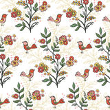 Retro romantic floral background with flowers and birds. Royalty Free Stock Photography