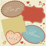Retro romantic love stickers and tags Stock Photography