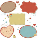 Retro romantic love stickers and tags Royalty Free Stock Photography