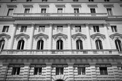 Retro Rome. Rome, Italy street view - Mediterranean architecture. Black and white retro style - monochrome color tone Royalty Free Stock Images