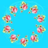 Retro rond die kader van rozen, in onestroke worden geschilderd stock illustratie