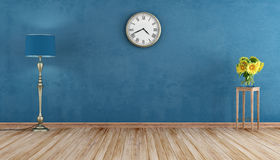 Retro room with blue wall Royalty Free Stock Image