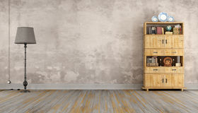 Retro room with bookcase Stock Photography