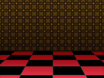 Retro room with checkered floor Stock Photography