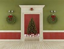 Retro room with christmas tree Royalty Free Stock Photo
