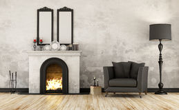 Retro room with fireplace Royalty Free Stock Image