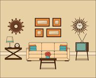 Retro room interior. Linear vector illustration. Retro room interior in flat design. Living room in line art. Linear vintage illustration. Vector graphics. Thin royalty free illustration