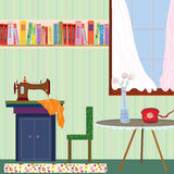 Retro room interior with sewing machine and phone royalty free illustration