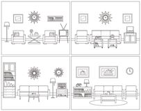 Living room interiors. Retro linear vector illustration. Stock Photography