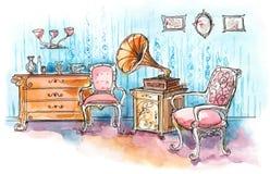 Retro room vector illustration