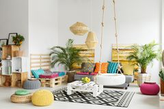 Retro room with pallet furniture Royalty Free Stock Photography