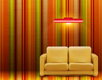 Retro room with a sofa and a lamp Royalty Free Stock Image