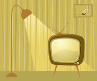 Retro room and TV. Vector retro interior with tv and lamp Royalty Free Stock Photography
