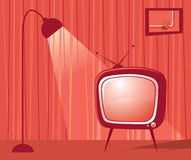 Retro room and TV. Vector . Stock Photos