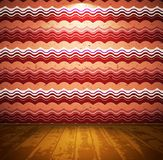 Retro room with wavy wallpaper Royalty Free Stock Photography