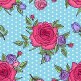 Retro rose pattern. Seamless floral pattern rose on blue background with polka dots. Pink and lilac rose. Flower rose pattern. Vector illustration. Design by Stock Photography