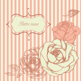 Retro roses frame. Floral background in retro style Royalty Free Stock Image