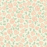 Retro roses pattern. Seamless pattern with stylized roses Stock Image