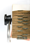 Retro Rotary Card File. Close-up of vintage rotary card file holder on white background royalty free stock photography
