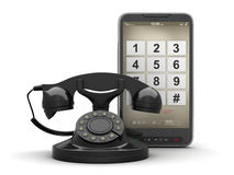 Retro rotary phone and cell phone Royalty Free Stock Photography