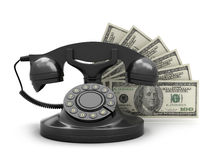Retro rotary phone and dollar bills Stock Image