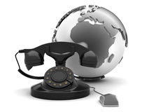 Retro rotary phone, earth globe and computer mouse Royalty Free Stock Photos