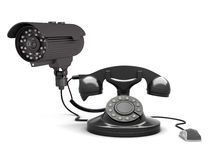 Retro rotary phone, security camera and computer mouse Royalty Free Stock Images