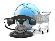 Retro rotary phone, shopping cart and earth globe Royalty Free Stock Image