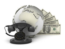 Retro rotary telephone, dollar bills and earth globe Royalty Free Stock Photography
