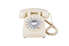 Retro rotary vintage telephone on white Royalty Free Stock Images