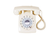 Retro rotary vintage telephone on white Stock Photos