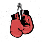 Retro- rote Boxhandschuhe, die mit einem Seil hängen stock abbildung