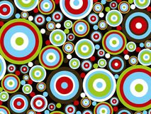 Retro- rote Kreise des blauen Grüns Stockbilder
