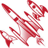 Retro- rote Rockets Stockfotos