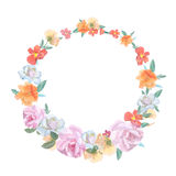 Retro round frame from roses, painted in Royalty Free Stock Photos