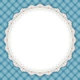 Retro round lace frame. Vintage design border, light blue gingham background, space for picture, text. For greeting card, invitation, scrapbooks, albums Royalty Free Stock Images