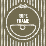 Retro round rope frame with knot. On stripy background Stock Photos