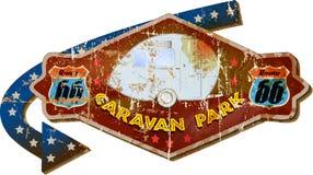 Retro route 66 caravan park sign. Grungy style, illustration stock illustration